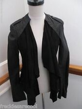 NWT MUUBAA BLACK LUPUS LEATHER SKINNY DRAPED BIKER JACKET US 10 M-L UK 14