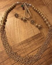Long Indian Pakistani Ethnic Bollywood Golden Plated Bead Mala Necklace Pendant