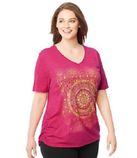 Just My Size Graphic Shirred Sides V Neck Tee Shirt  Heather Fabric 4X Pink