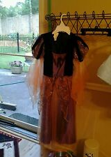 CHILD'S  BLACK /PURPLE AND GOLD MAIDENS DRESS SZ 6/7 SMALL