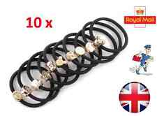 10 x Black Elastic Strong Hair Band Ponytail Holder With Gold Colour Pendant UK