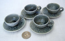 Gray STONEWARE Floral Play Tea Set Four (4) Cups & Saucers Dolls/ Bears VINTAGE
