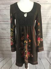 Aryeh Anthropologie Bohemian Empire Dress Size M Acrylic Fuzzy Lace Floral A12