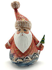 Unique Shape Russian Wooden Hand Carved Hand Painted Santa w/Christmas Tree