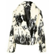 BNWT TOPSHOP SIZE 8-10 FAUX FUR CROPPED JACKET CREAM ANIMAL PRINT WOMENS LADIES
