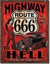 Highway To Hell Metal Tin Sign Route 666 Devil Rat Rod Garage Home Decor New