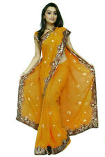 Golden Yellow NW Bollywood Sequin Embroidery Sari Saree Costume danse du ventre