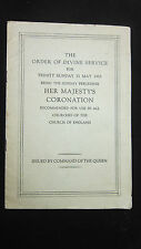 Royal Memorabilia - Elizabeth  Coronation Order of Service Booklet