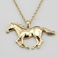 """Fashion Gold Tone Jewelry Running Horse Pendant 27""""Necklace EA62 A+++"""