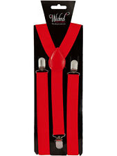 Elastic Red Braces Mens Ladies 2.5cm Wide Slim Fancy Dress Suspenders