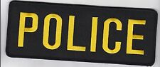 POLICE Vest Gear Bag Patch with full HOOK backing, 8 x 3, gold on black