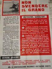 MANIFESTO NON SVENDERE GRANO 1966 CONSORZI COLTIVATORI DIRETTI AGRICOLTURA
