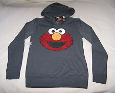 Sesame Street Elmo Ladies Grey Glitter Printed Hoodie Top Size M New
