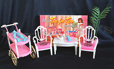 GLORIA FURNITURE SIZE TEA FOR TWO W/ Chair PLAYSET FOR BARBIE DOLL HOUSE