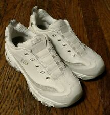 Sketchers Sport D'Lites White Leather/Synthetic Slip On Walking/Running Shoes