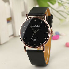 Fashion Women's Watch Crystal Case Leatheroid Band Round Dial Quartz Wrist Watch