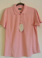 Greg Norman Ladies Play Dry Golf Polo Shirt Size Large Pink Club Logo NWT
