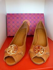 NEW TORY BURCH TAN LEATHER LETICIA SHAPED WEDGE SANDALS / SHOES .. UK 8   US 10