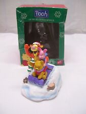 DISNEY WINNIE THE POOH CHRISTMAS MUSIC BOX CENTERPIECE TIGGER & PIGLET SLEDDING
