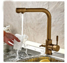NEW Antique Brass Kitchen Faucet Rotatable Tap Hot And Cold Mixer Tap Deck Mount