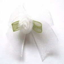 Organza Ribbon Bows With Rose Buds Embellishments x 10 - * Choose Your Colour *