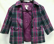 Girls  Toddler 4T Circo Button Up Jacket Coat Purple Flannel Sweater Wool Blend