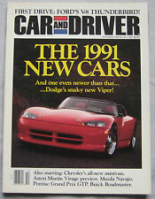 Car & Driver magazine 10/1990 featuring Aston Martin, Dodge Viper, Pontiac, Ford