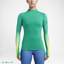 Nike Pro Hyperwarm Women's Long Sleeve Training Top L Green Volt Gym Running New