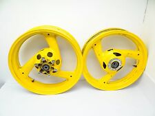 Vintage Used Yamaha 1989-1999 FZR 600 Front Rear Motorcycle Rims Yellow Aluminum