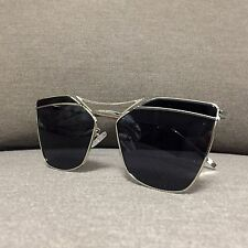 Black Oversized Metal Vintage Retro Geek Fashion Sunlasses 60s 80s