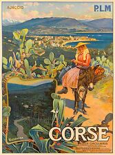 Corse Corsica Island French France Vintage Travel Advertisement Art Poster