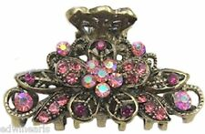 Antique Bronze Crystal Rhinestone Metal Hair Claw Clip (Hair Jewelry) HC 223 PNK