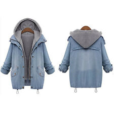 New Women Denim Jean Hooded Coat Jacket Ladies Oversized Winter Outwear 2Pcs Set