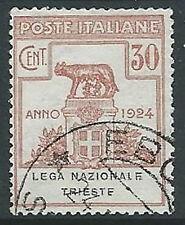 1924 REGNO USATO PARASTATALI LEGA NAZIONALE TRIESTE 30 CENT - M41-8