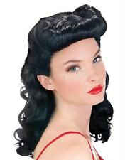 40'S SEXY PIN UP BABE BURLESQUE BLACK WIG COSTUME FW92585