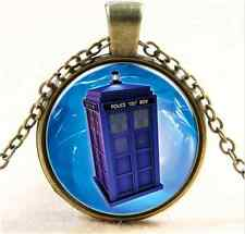 Vintage Doctor booth Space shuttle Cabochon Bronze Glass Chain Pendant Necklace