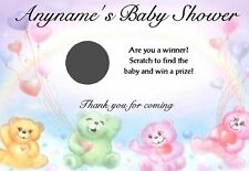 10 Personalised Baby Shower Scratch Cards - Teddy Design - Christening, Favours