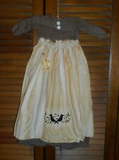Primitive Wall Decor Dress BLACK CHECK W/ APRON Crows and Berries, Fall,Grungy