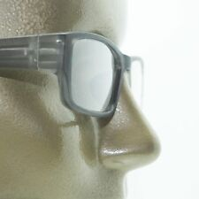 Reading Glasses Low Rise Rectangle Spring Hinge Frame Frosted Matte Gray +1.50