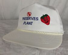 Vtg Strawberry Preserves Plant Hat Adjustable White Grocery Advertising Fruit