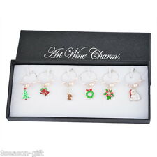 1Box Christmas Mixed Glass Wine Charms Mark Ring Table Decorations