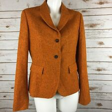 JIL SANDER Alpaca Silk Single Button Blazer Jacket Women's Sz 40 Orange Italy