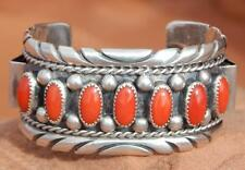 Navajo Sterling Silver High Quality Coral Seven Stone Cuff Bracelet