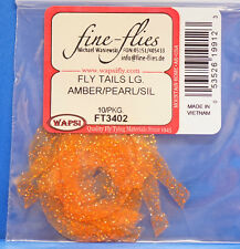 Fly Tails large Wapsi EE. UU. de silicona 10 piezas Amber/Pearl/Silver