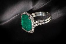 Green Emerald and Diamond Ring in 18K White Gold with Appraisal