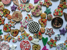 50 pcs Mixed Wood  Scrapbooking // Sewing Buttons   15mm  to 30mm in Size