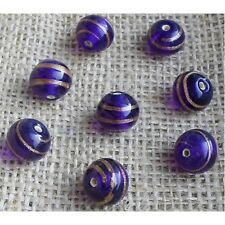 10 HANDMADE INDIAN LAMPWORK GLASS BEADS ~ 13mm Royal Round ~ 36
