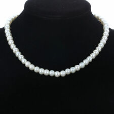 party Jewelry Single style White Faux Pearl Beads 40 cm long collar Bib Necklace