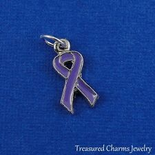 Silver and Purple AWARENESS RIBBON Pancreatic Cancer Alzheimer's Chron's CHARM