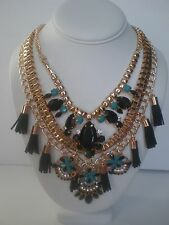 Statement Necklace Mutiple Layered Gold Tone Bue Black